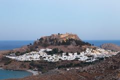 Lindos in the Evening Stock Image