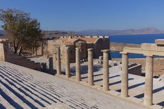 Acropolis of Lindos, Rhodes, Greece Royalty Free Stock Images