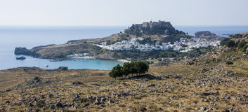 Lindos greece. Rhodes island - view of Lindos bay Royalty Free Stock Images