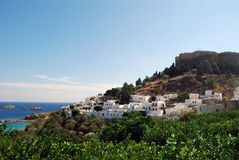 Lindos, Greece. Lindos town and Acropolis in Rhodes, Greece royalty free stock photo