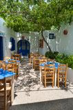 Lindos. Greece. 05/28/2018. Traditional restaurant and bar in Lindos Town. Greek Island of Rhodes. Europe stock image