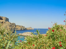 Lindos on the Greek Island of Rhodes. Lindos area and the castle up above on the Greek Island of Rhodes stock images