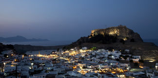 Lindos at night Stock Image