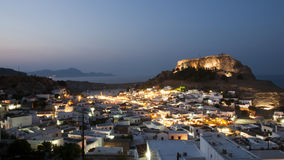 Lindos at night Royalty Free Stock Images