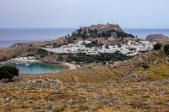 Lindos picturesque town on the island of Rodos, Greece Stock Photography