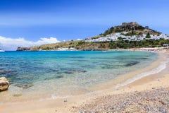 Lindos Rhodes. Beach at Lindos Rhodes Greece Europe stock image