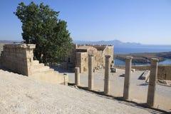 lindos rhodes för acropolisgreece ö Royaltyfri Foto
