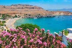 lindos rhodes för fjärdgreece ö Rhodes Grekland Royaltyfria Foton