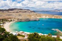 Lindos Rhodes Greece Arkivbild