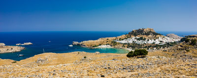 Lindos Rhodes Greece. Overlooking the beautiful village of Lindos on the Island of Rhodes Dodecanese Greece Europe Royalty Free Stock Photos