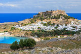 Lindos Rhodes Greece. View from the road down to the popular town of Lindos on the Island of Rhodes Greece stock photography