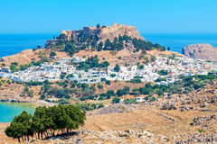 Lindos. Rhodes, Greece. View of Lindos town and Acropolis. Rhodes island, Dodecanese islands, Greece, Europe Stock Image