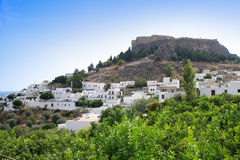 Lindos. Rhodes island, Greece. Landscape in a sunny day stock image