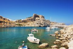 Lindos, Rhodes. St. Paul's Bay in Lindos, Rhodes, Greece Royalty Free Stock Images