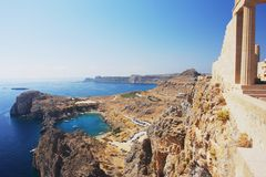 Lindos, Rhodes. View of the Acropolis of Lindos, Rhodes Royalty Free Stock Image