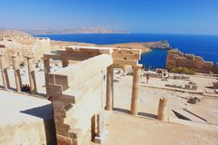 Lindos, Rhodes. View of the Acropolis of Lindos, Rhodes, Greece Royalty Free Stock Photo