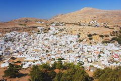Lindos, Rhodes. View from the acropolis on the town Lindos, Rhodes Royalty Free Stock Photos