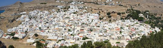 Lindos Rhodos Greece historic buildings architecture summer. Morning Rhodos Greece summer Beach sea europe blue sky travel royalty free stock images