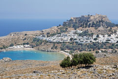 Lindos Rhodos Griechenland Stockbild
