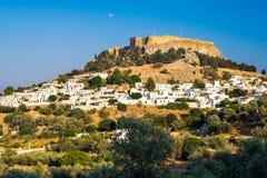 Lindos Rodi Grecia Fotografia Stock Libera da Diritti