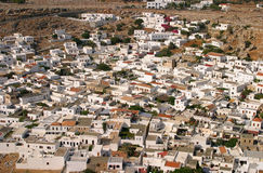 Lindos rooftops from the Acropolis Royalty Free Stock Photo