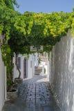 Lindos Smalle Straat in Rhodes Island Rodos Aegean Region, Gre Stock Foto