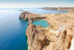 Lindos - St.Pauls Bay Royalty Free Stock Photography