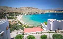 Lindos-Stadt in Rhodos, Griechenland Lizenzfreie Stockbilder