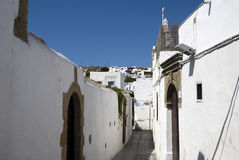 Lindos street  - Greek Royalty Free Stock Photography