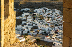 Lindos town as seen from acropolis Stock Photography