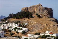 Lindos town with hill forts, Rodos, Greece Royalty Free Stock Photo