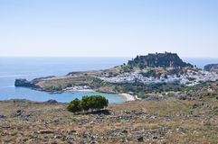 Lindos town on the Island of Rhodes Greece Europe Stock Image