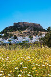 Lindos town on the Island of Rhodes Greece Europe Stock Photos