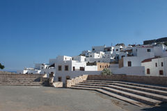 Lindos town. Main sqare with white houses Stock Photo