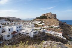 Lindos town in Rhodes, Greece Royalty Free Stock Photos