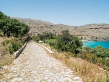 Lindos town in Rhodes, Greece Stock Images