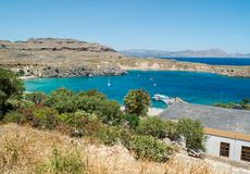 Lindos town in Rhodes, Greece Royalty Free Stock Image