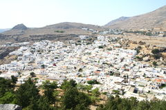 Lindos town in Rhodes island Royalty Free Stock Photos