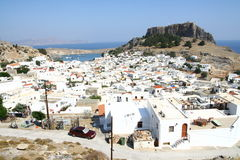 Lindos town in Rhodes island Stock Images