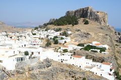 Lindos town in Rhodes island Royalty Free Stock Images