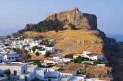 Lindos town, Rhodes island, Greece. Famous tourist town Lindos, Rhodes island, Greece stock photography