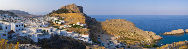 Lindos town, Rhodes island, Greece. Famous tourist town Lindos, Rhodes island, Greece stock photo
