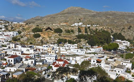 Lindos traditional Greek village at Rhodes Royalty Free Stock Images