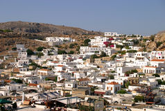 Lindos viewed from the Acropolis Royalty Free Stock Photos