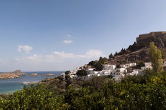 Lindos village on Rhodes Stock Image