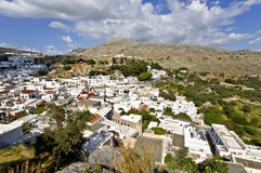 Lindos village at Rhodes, Greece Royalty Free Stock Images