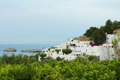 Lindos village at Rhodes, Greece. Royalty Free Stock Images