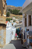 Lindos village at Rhodes, Greece. Stock Images