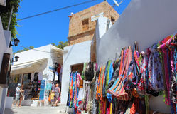 Lindos village at Rhodes, Greece. Stock Photos