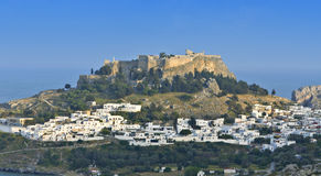 Lindos village at Rhodes island Stock Photography